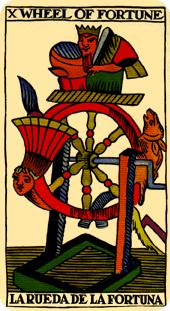 the wheel of fortune tarot card marseilles deck
